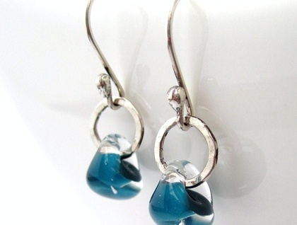 Aqua Raindrop Sterling Silver Earrings
