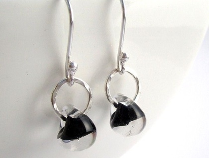 Black Ice Drop Sterling Silver Earrings