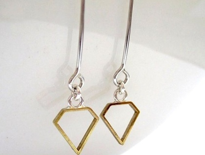 Modern Geometry Prism Earrings with Sterling Silver hooks SALE 50% off