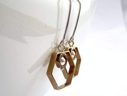 Modern Geometry Hexagon Earrings with Sterling Silver Hooks SALE 50% off