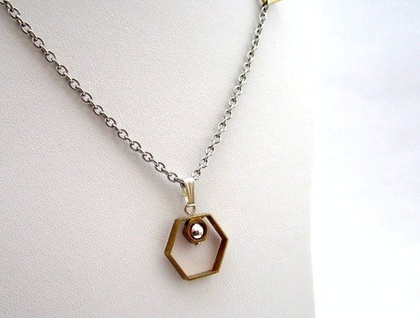 Modern Geometry Hexagon Pendant SALE 50% off