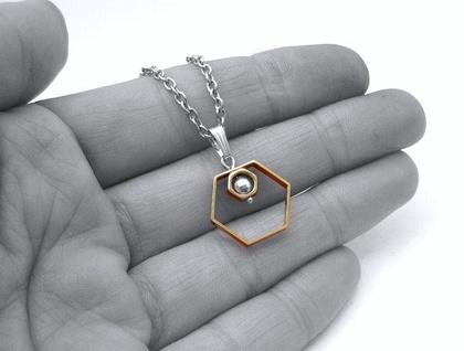 Modern Geometry Hexagon Pendant SALE 50% off