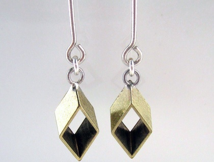 Modern Geometry North Quad Earrings with Sterling Silver