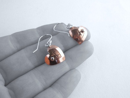 X My Heart Copper & Silver Earrings with Sterling Silver Hooks