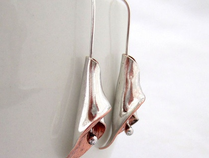 Calla Lily Sterling Silver & Copper Earrings