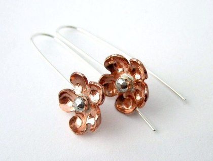 Forget Me Not Copper & Sterling Silver Earrings