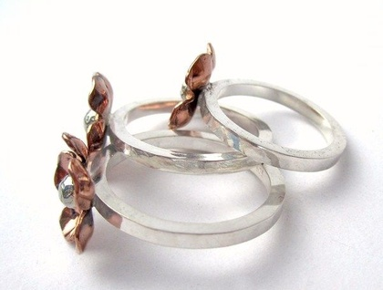 Forget Me Not Copper & Sterling Silver Ring