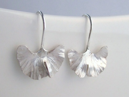 Ginkgo Earrings Sterling Silver