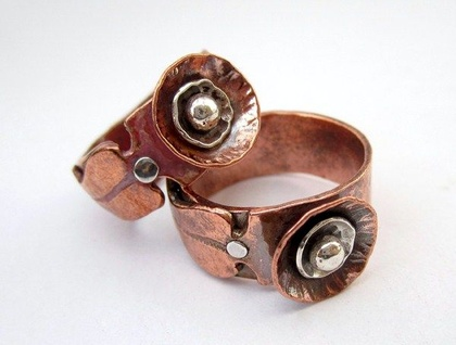 Organic Poppy Ring in Copper & Sterling Silver