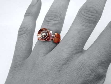 Organic Poppy Ring in Copper & Sterling Silver