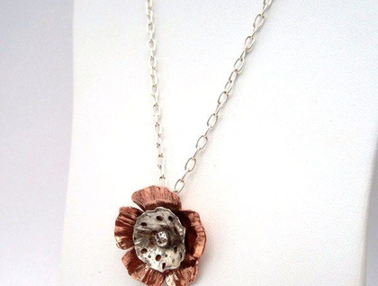 Poppy Necklace in Copper & Sterling Silver