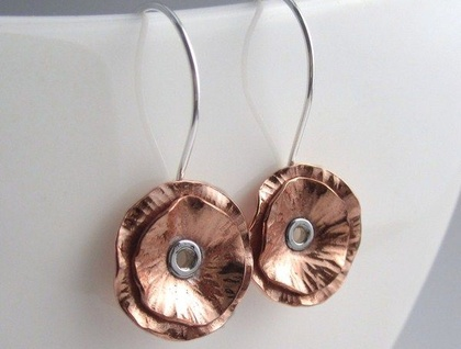 Tall Poppy Copper Earrings With Sterling Silver
