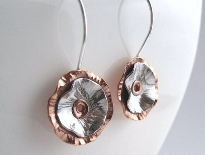Tall Poppy Sterling Silver & Copper Earrings