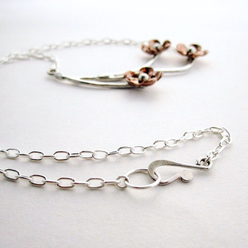 Forget Me Not Trio Copper & Sterling Silver Necklace