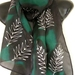 SILVER FERN ON GREEN AND BLACK BACKGROUND HANDPAINTED PURE SILK SCARF NZ HANDMADE