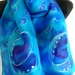 Silk Scarf  Handpainted KIWIANA. New Zealand PAUA Shell PURE SILK HAND PAINTED SCARF.
