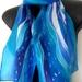 Waves Beach Silk Scarf, New Zealand Scarf, Handpainted Pure Silk Scarf, NZ Handmade Gift, 28cm x 150cm, Blue White Scarf, Silver Wave Scarf,