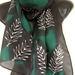 SILVER FERN NZ Silk Scarf, Emerald Green and Black, New Zealand Hand Painted Silk Scarf, Long Scarf, 150 X 28 cm, New Zealand handmade unisex scarf