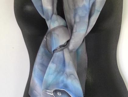 New Zealand Tui BIRD, SILVER SILK Scarf, Hand Painted Tui Bird Scarf, Blue and Aqua Blush, Marbled Silver, Kiwiana Made Gift, Handmade gift