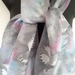 Silver Bird, New Zealand FANTAIL native Bird, Blush pink and blue on Silver Grey, Hand Painted Pure Silks Scarf, with Gift Card,150cm x 28cm