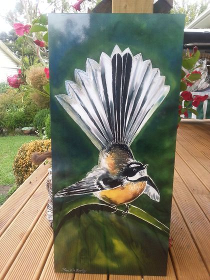 New Zealand  FANTAIL BIRD, OUTDOOR Wall ART Panel  from my original silk painting. 50 x 23cm.