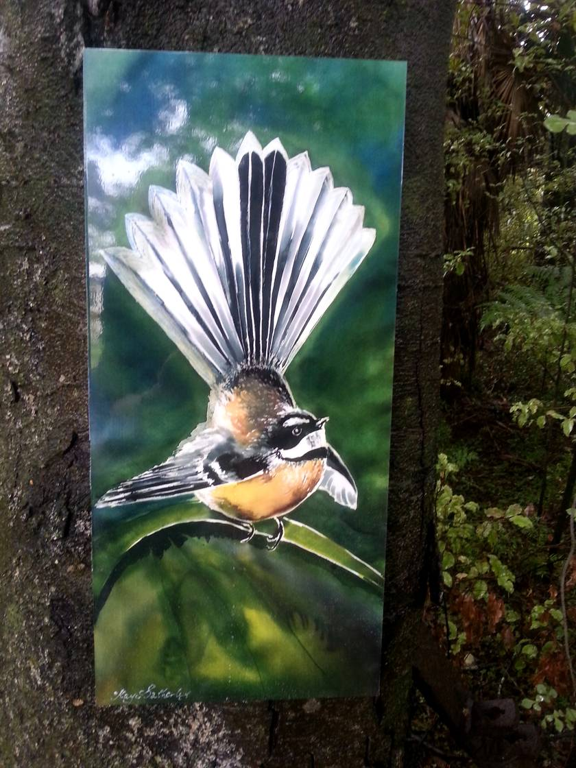 New Zealand  FANTAIL BIRD, OUTDOOR Wall ART Panel  from my original silk painting. LARGE SIZE, Measuring 70 x 32cm