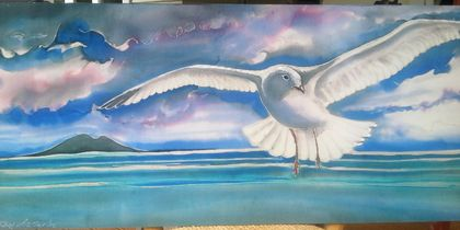 SEAGULL in Flight over Rangitoto, OUTDOOR Wall ART Panel from my original silk painting, 49cm x 22cm,