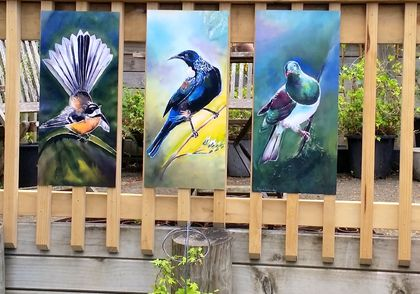 SPECIAL price for 3 birds, New Zealand TUI, FANTAIL, KERERU, OUTDOOR ART Panels LARGE.