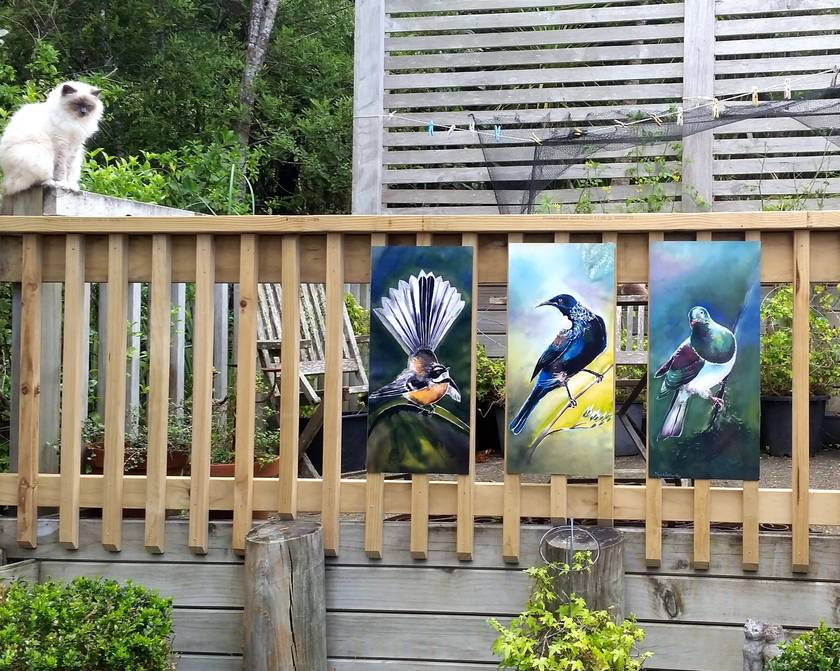 SPECIAL price for 3 birds, New Zealand TUI, FANTAIL, KERERU, OUTDOOR ART Panels LARGE. Each measuring 70 x 32cm