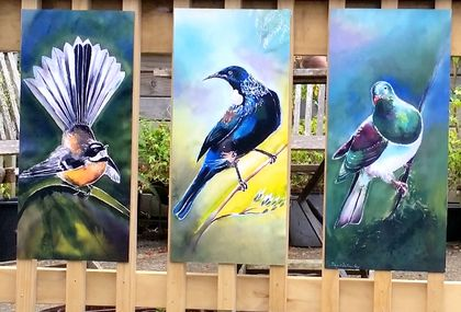 SPECIAL Price for 3 Birds, New Zealand TUI, FANTAIL, KERERU, OUTDOOR Wall ART Panels. Each measuring 50 x 23cm.