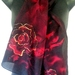 MidNight Rose Silk Scarf Hand Painted, Crimson and Black Rose flowers, 150x 28cm, New Zealand handmade, Black, Red, Gold highlights, Gift,