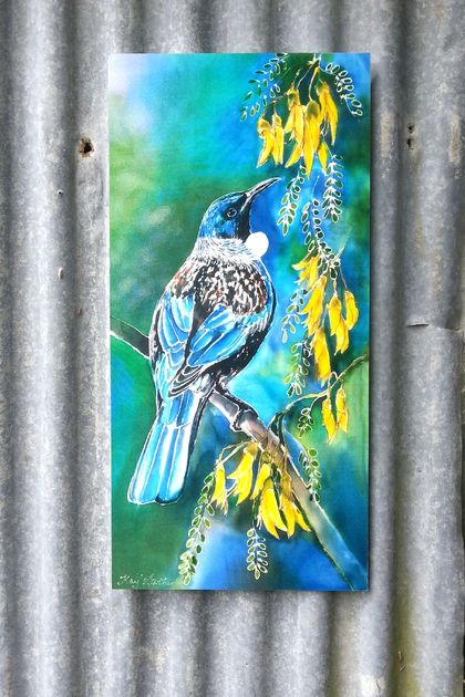 New Zealand Tui Bird feeding on Kowhai Tree nectar filled flowers,Outdoor Garden, Patio, Wall Art, 70cm x 32cm, weatherproof
