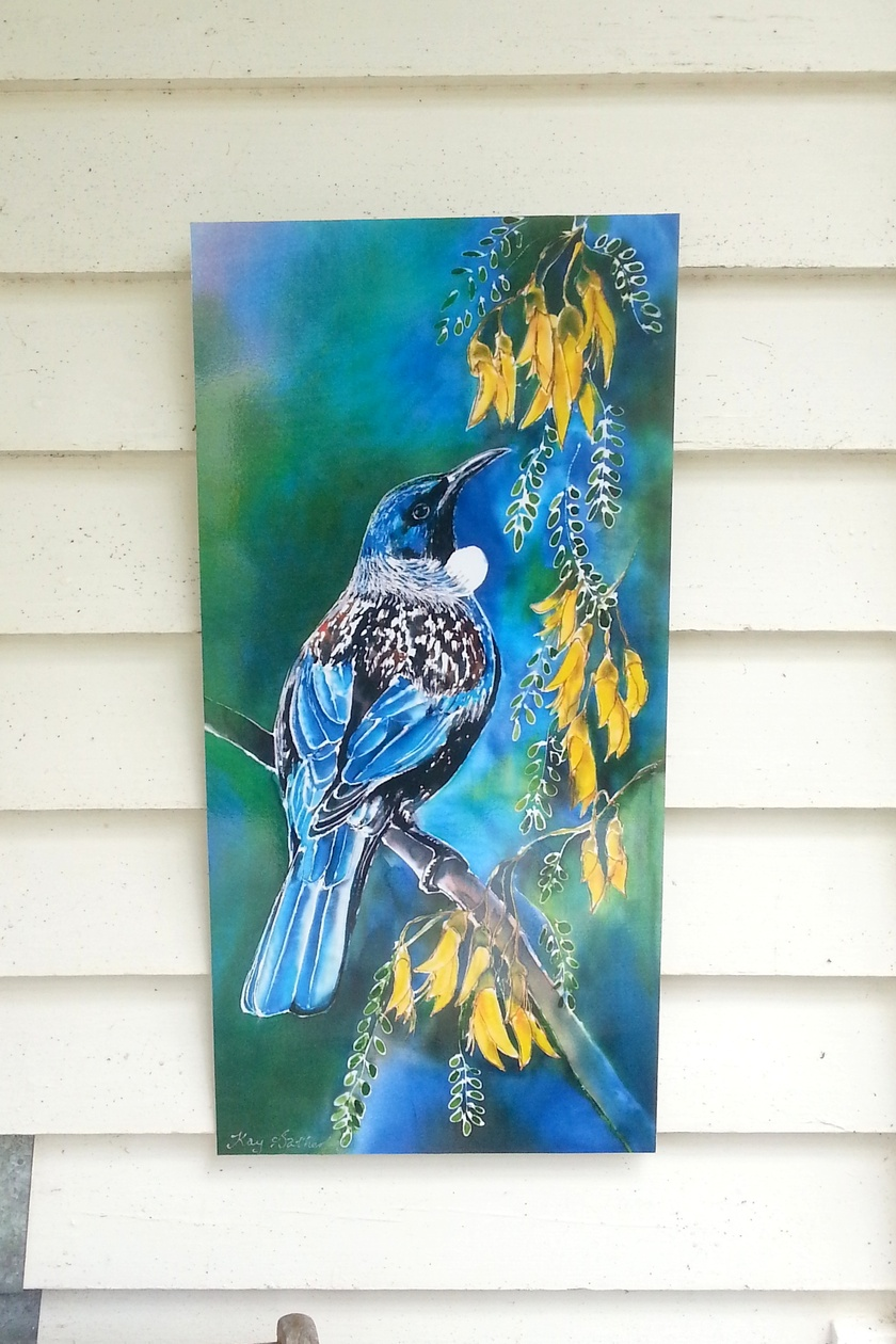 New Zealand Tui Bird feeding on Kowhai Tree nectar filled flowers,Outdoor Garden, Patio, Wall Art, 70cm x 32cm, weatherproof