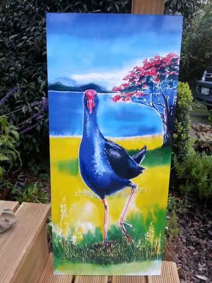 New Zealand PUKEKO with POHUTUKAWA, NZ Xmas Tree. OUTDOOR Wall ART Panel from my original silk painting. 50 x 23cm.