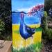 New Zealand PUKEKO with POHUTUKAWA, NZ Xmas Tree. OUTDOOR Wall ART Panel from my original silk painting. 50 x 23cm.