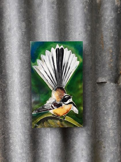 New Zealand  FANTAIL BIRD, OUTDOOR Wall ART Panel  from my original silk painting. MINI Panel 20cm x 12cm,