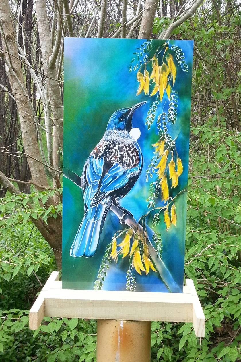 New Zealand Tui Bird on Kowhai Tree,Outdoor Wall Art, 50cm x 23cm