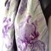 IRIS Flower, Hand painted Iris SILK SCARF, handmade in New Zealand, mauve, purple, blue, Pink, Handmade Gift for her, 150cm x 28cm Luxury on Habotai silk.
