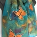Monarch butterflies Silk Scarf, on a green and russet background. Lacy Gold, orange, black Butterfly, New Zealand Silk Scarf Hand Painted, Gold wings
