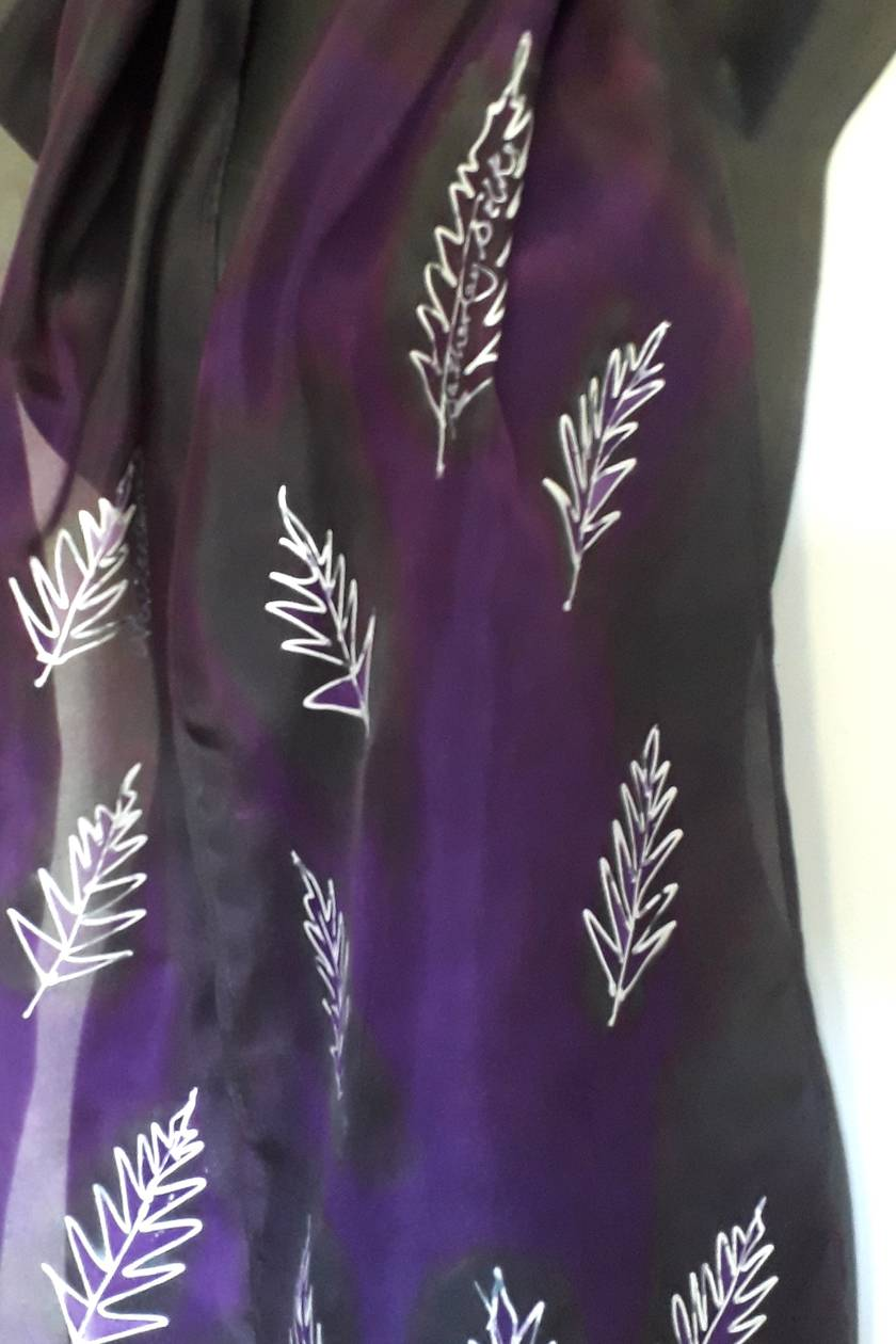 SILVER FERN ON A PURPLE AND BLACK BACKGROUND HANDPAINTED PURE SILK SCARF