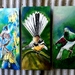OUTDOOR Wall ART, SPECIAL Price for 3 Birds, New Zealand TUI on KOWHAI, FANTAIL, KERERU, Panels. Each measuring 50 x 23cm.