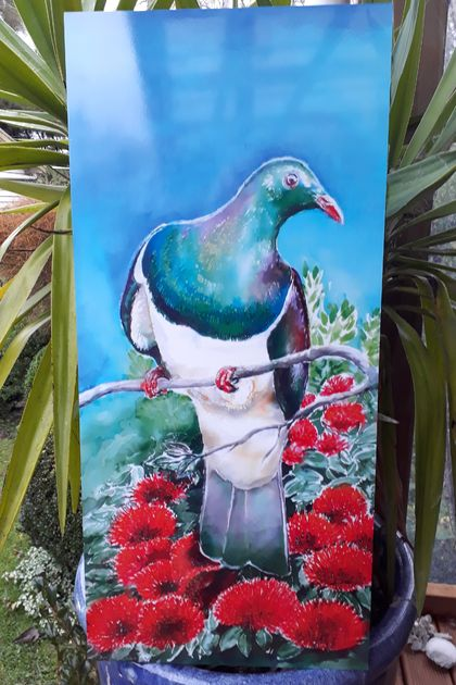 Kereru on Pohutukawa Outdoor Art Panel 50 x 23cm