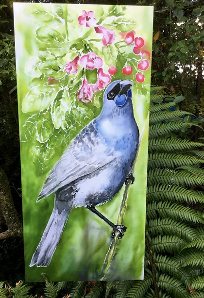 New Zealand KOKAKO , Endangered Native Bird,OUTDOOR Wall ART Panel  from my original silk painting. LARGE SIZE, 70cm x 32cm.