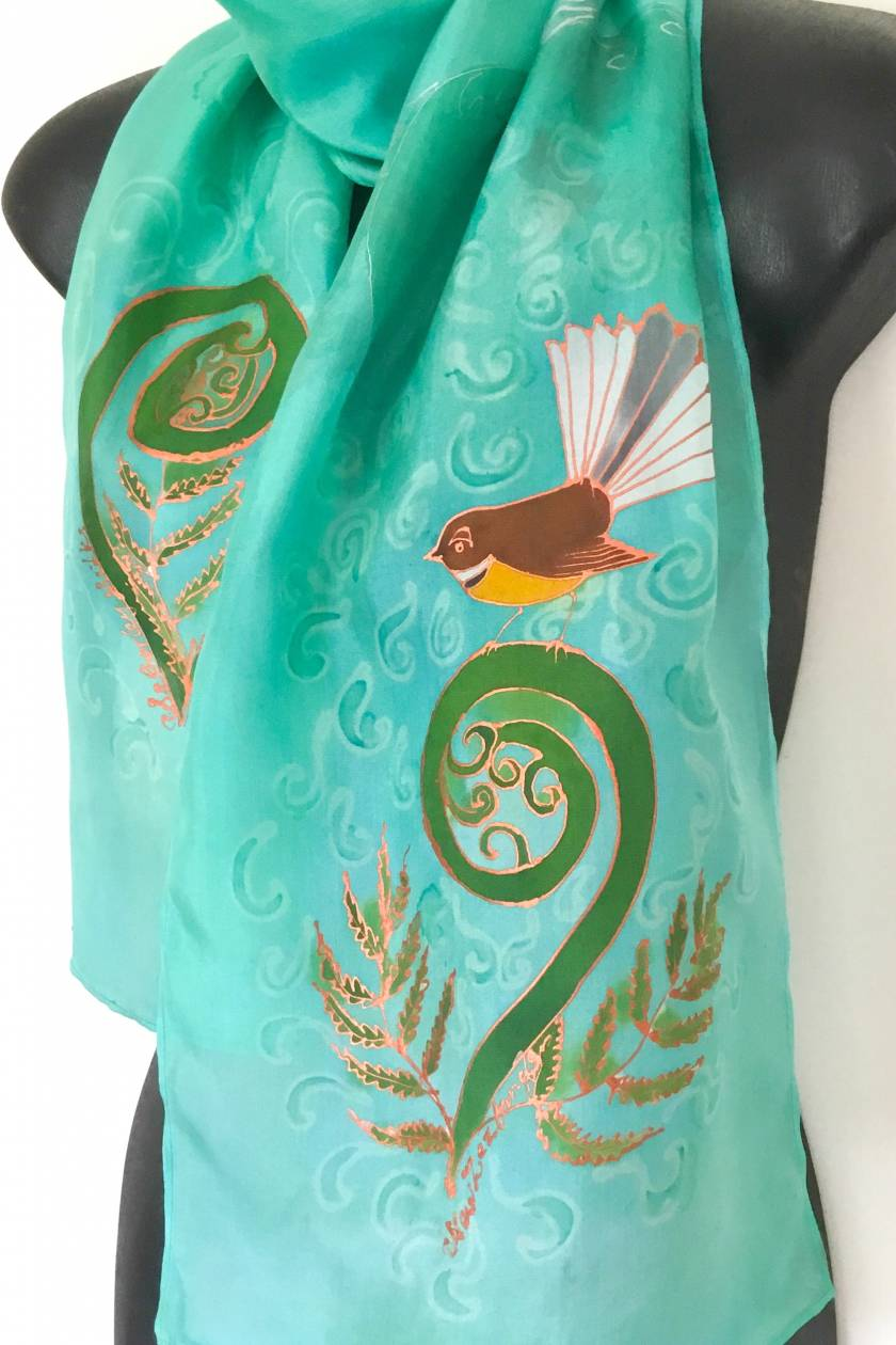 Fantail on Koru  - Hand painted Silk Scarf.