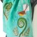 Fantail on Koru  - Hand painted Silk Scarf.