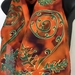 KIWIANA KORU AND FERNS Silk Scarf, Orange is the New Black, HANDPAINTED, New Zealand,  SILK SCARF NZ HANDMADE GIFT.