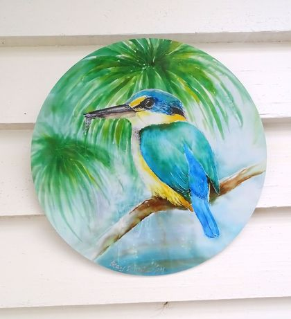 Kingfisher on Pond - Outdoor Circle Art Panel