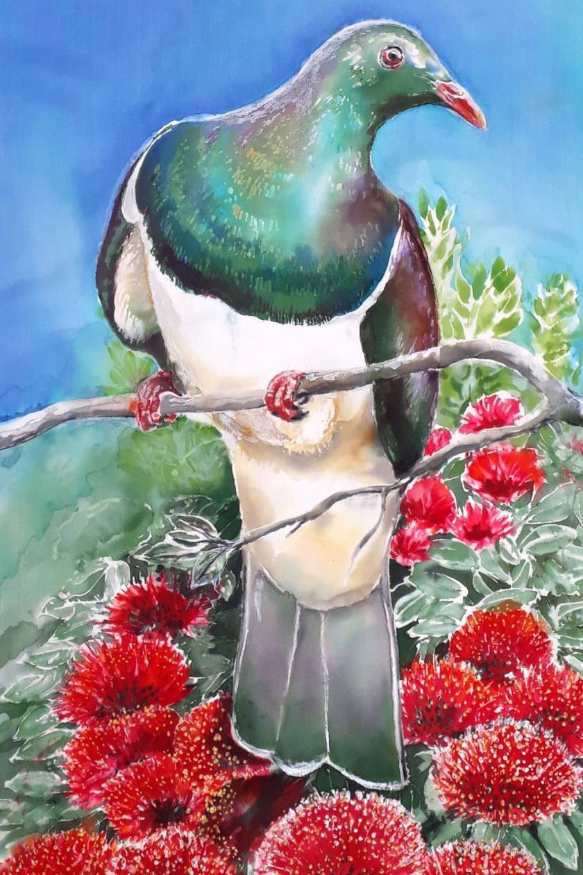 SPECIAL.New Zealand TUI/KOWHAI, FANTAIL, KERERU/POHUTUKAWA OUTDOOR ART MINI Panels x 3