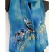 New Zealand Tuis & Kowhai Tree - Hand painted Silk Scarf