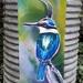 New Zealand KINGFISHER Bird OUTDOOR Wall ART Panel from original silk painting 49cm  x 22cm